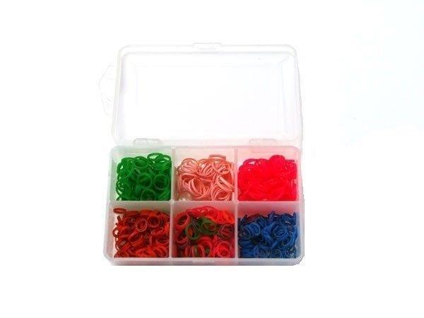Doosje doorzichtig voor elastiekjes gevuld +/- 6x100
